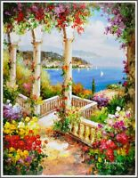 Signed Landscape Painting South France Beautiful Mediterranean Oil On Canvas