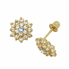 Aqumarine Birthstone Baby Girl Flower Stud Earrings Screw Back 14K Yellow Gold