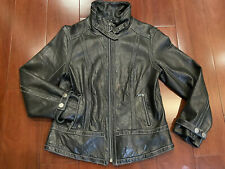 Miss Sixty Butter Soft Genuine Leather Moto Jacket Black With White Stitches M