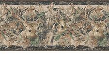 Camouflage Forest Lodge Two Kings Deer Head Border Camo Leaf Wallpaper JL1062BD