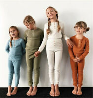 Toddler Kids Baby Girls Boys Long Sleeve Tops Pants pajamas Sleepwear Outfits