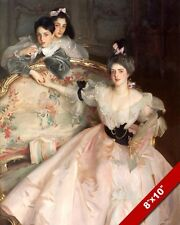 MOTHER CHILDREN SON DAUGHTER IN ELABORATE DRESS OIL PAINTING ART CANVAS PRINT