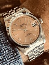Tudor Vintage Rolex Prince Date Salmon Pink Dial Dial Mens 34mm steel watch Box