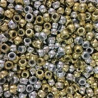 100 x Gold & Silver Mixed Metallic Barrel Shape Pony Beads 9x6mm