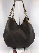 💯MICHAEL Michael Kors Signature Large Fulton Women's Shoulder Bag Brown $398