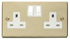 Polished Brass 2-Gang Plug Socket Home Electrical Fittings