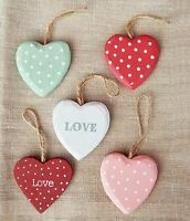 Wooden Hanging Hearts Red Pink Green White PolkaDot  Heart Decorations Gift Love