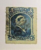 NEWFOUNDLAND Sc# 39 Θ used 3¢ Victorian postage stamp, fine + mute cancel