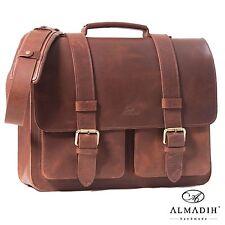 ALMADIH Leder Aktentasche STEVE Umhängetasche Lehrertasche Schultertasche Laptop