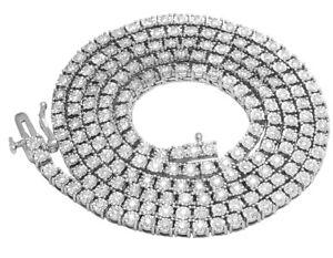 "Mens Real Diamond Chain Choker 10K Yellow Gold 1 Row Tennis Necklace 3.8CT 24"""