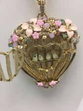 $95 BETSEY JOHNSON MARIE ANTOINETTE FLOWER BIRD CAGE NECKLACE B10 with defect