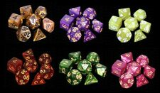 6 NEW Sets Marbled Polyhedral Dice - Assorted Colors - RPG D&D