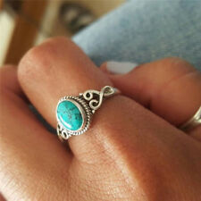 Natural Turquoise Ring Ladies Jewelry Surprise Retro Cheap Gift Wild Silver N3