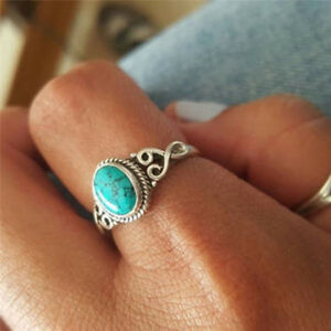 Silver Tone Women Ladies Vintage Boho Bohemian Turquoise Ring Jewelry Gift Shan