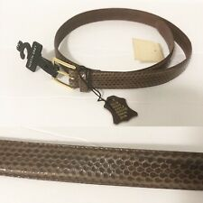 Vintage Deadstock Genuine Snakeskin Brass Buckle Belt Size 32