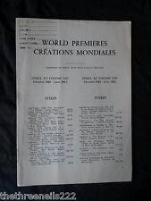 INTERNATIONAL THEATRE INSTITUTE WORLD PREMIER - INDEX TO VOL 13 OCT 1961 to JUNE