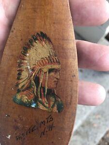 "Vintage 1900s Wood Souvenir Indian Canoe Paddle Remenet Wall Hanger 7 1/4x2 3/8"""