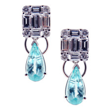 LIQUIDATION!$15100 RARE EXQUISITE 18KT LARGE PARAIBA TOURMALINE DIAMOND EARRINGS