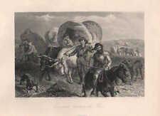 Emigrants, Crossing The Plains, Pioneers, Vintage, 1874 Antique Art, Print,