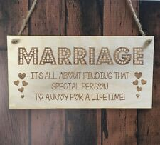 Marriage Annoy Funny Wooden Plaque Sign Laser Engraved pq91