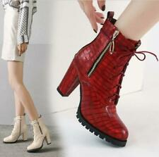 Womens Fashion Embossed Lace Up Zipper Block Heel Combat Ankle Boots Shoes QGCI