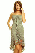 Kleid Bandeaukleid  khaki weiss braun 34/36 36 Lochmuster Vokuhila Romantikkleid