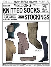 Weldon's 2D #432 c.1920 Vintage Knitting Patterns for Socks & Stockings