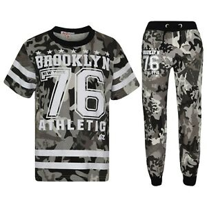 Kids Boys Designer Brooklyn 76 Camouflage T Shirt Tops Trouser Tracksuit 5-13 Yr