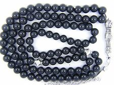 8mm x99 BLACKK ONYX akeek-e-Sulemani PRAYER BEADS ISLAMIC TASBIH MASBAHA GIFT