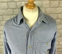 """ORVIS Mens Long Sleeve Blue And White Checked Shirt Size M Chest 44"""""""