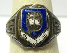 "STERLING SILVER ENAMEL 1958 ""SJB"" CLASS RING vintage SIZE 7.75 SYBOL   8.4 GRAMS"