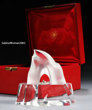 NEW in RED BOX STEUBEN glass ICE HUNTER silver KAYAK Arctic Inuit JAMES HOUSTON