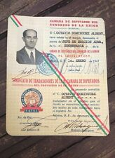 "VINTAGE 1947 RARE MEXICAN OBSOLETE WORKER ID ""CAMARA DE DIPUTADOS"" MEXICO CITY"