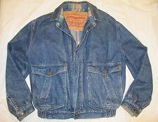 Vintage LEVI'S Denim Blue Plaid Flannel Lined Jean Zip Jacket Men's MEDIUM