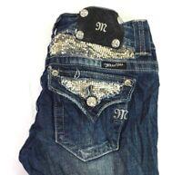 MISS ME Women's Medium Wash Distressed Embellished Skinny Denim Jeans 27 x 30