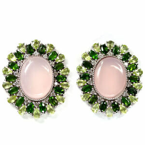 REAL 15 X 19 mm. CHALCEDONY, CHROME DIOPSIDE, PERIDOT & CZ EARRINGS  925 SILVER