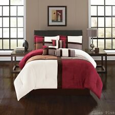 Burgundy Brown Micro Suede Patchwork Comforter Set King Size 7 Piece LinenPlus