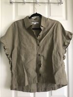 Womens O'Neill Short Sleeve Button Down Olive Ruffle Side Shirt Size S (A-15)
