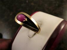 Rare  Retro Vintage 14k Solid Gold Shadow Box Setting Red Star Sapphire Ring