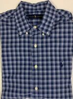 Polo Ralph Lauren Mens Blue/White Cotton Plaid Button Down Shirt Large Nice!