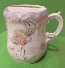 Very VTG White Porcelain Gentleman's Mustache Cup Gold Trim Ornate Floral Design
