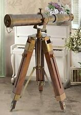 """Antique Telescope with Wooden Tripod Marine Brass Royal Navy Tabletop Decor 10"""""""