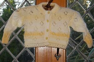 Hand Knitted, orange striped cardigan, age 3 to 6 months, NWOT