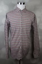 Men's Billy Reid Red / Black Standard Cut Checkered Button Up Shirt Sz XL