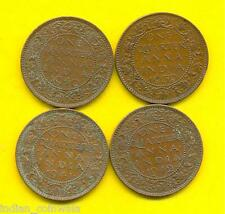 KING GEORGE  VI  1/4 ANNA 4 COINS SET, 1939, 1940, 1941, 1942, GOOD CONDITION