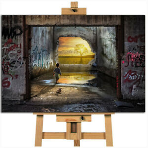 Banksy style boy and teddy hope  canvas wall art print