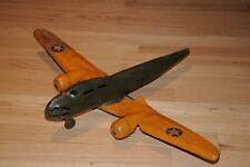 Vintage Buddy L Quality Toys Pressed Steel Airplane Plane Wood Wheels USA Old...