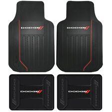 4PC Dodge Elite Logo Black Front & Rear Rubber Floor Mats Universal Trim To Fit