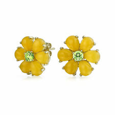 Yellow Jade Flower CZ Clip On Earrings 14K Gold Plated Sterling Silver