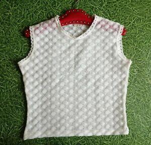 Vintage 70s White crochet polyester short knit vest tank M